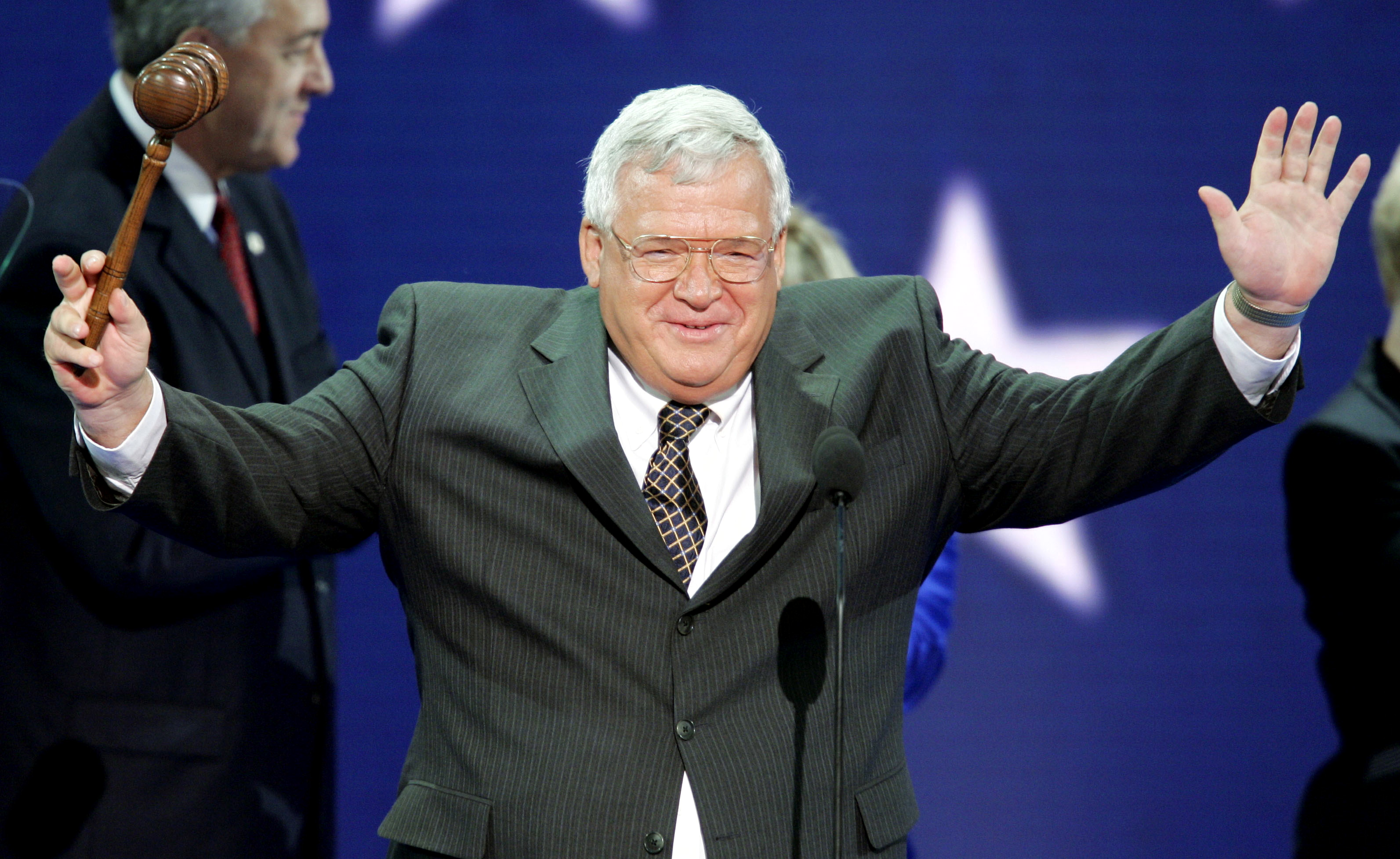 Former Speaker of the U.S. House of Representatives Dennis Hastert, from Illinois, greets delegates during the opening session of the 2004 Republican National Convention at Madison Square Garden in New York, August 30, 2004. Photo courtesy of Reuters