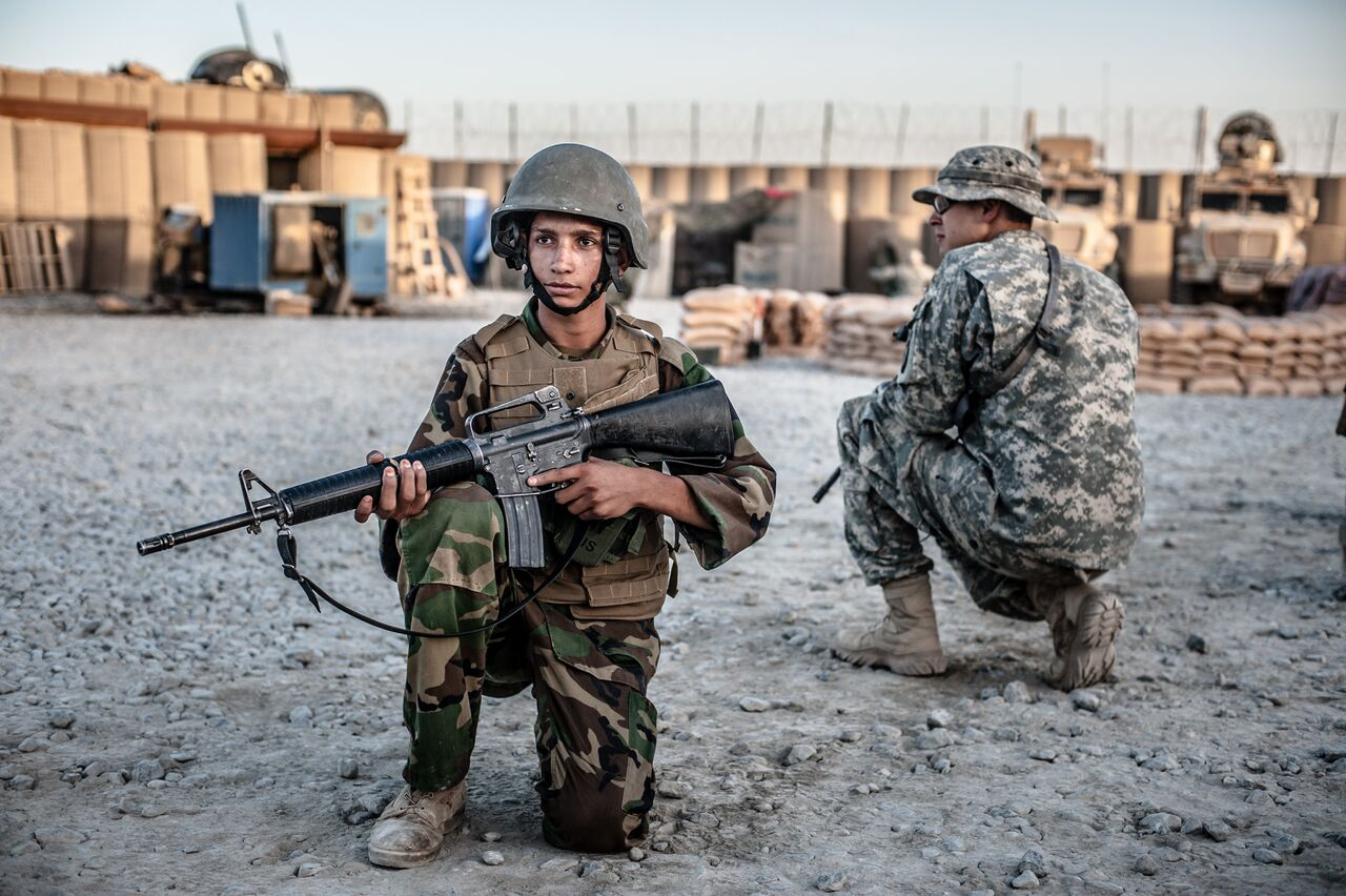 Afghan National Army soldiers, some of them teenagers, receive combat training from U.S. troops at Combat Outpost Lakokhel in Kandahar Province. Photo by Ben Brody/The GroundTruth Project