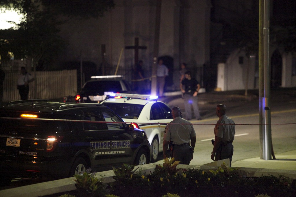 Police respond to a shooting at the Emanuel African Methodist Episcopal Church in Charleston, South Carolina on June 17. A gunman opened fire on Wednesday evening at the historic African-American church in downtown, police said. Photo by Randall Hill/Reuters