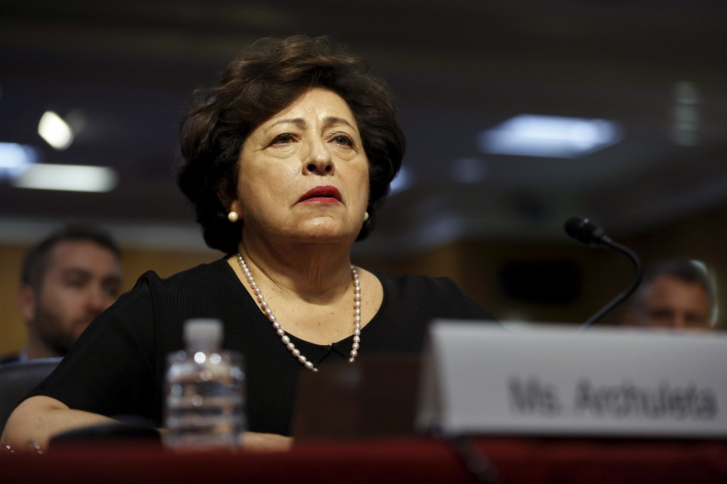 U.S. Office of Personnel Management (OPM) Director Katherine Archuleta testifies before a hearing of the Senate Appropriations Committee concerning a recently revealed data breach affecting millions of federal employees' personal data, on Capitol Hill in Washington June 23, 2015.  REUTERS/Jonathan Ernst