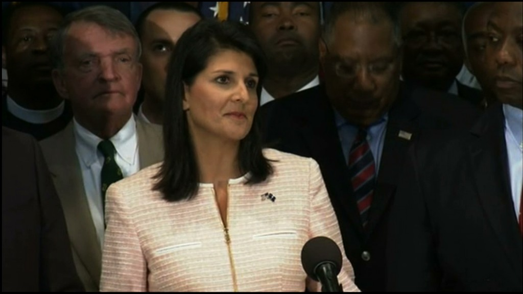 South Carolina Gov. Nikki Haley calls for removal of the confederate flag from the State Capitol grounds at a press conference at 4 p.m. EDT Monday.