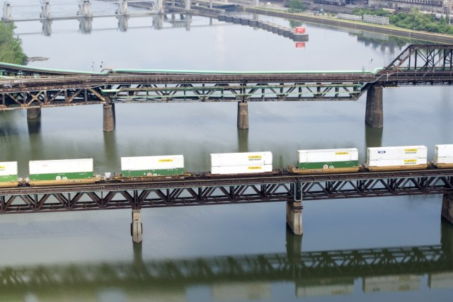 """Railroads and Shipping Containers On the Monongahela River 2013."" Photo by LaToya Ruby Frazier"