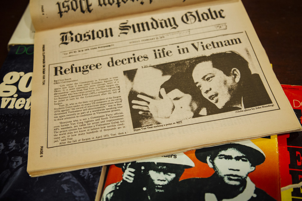Newspaper clippings capture Doan Van Toai's years as an essayist and speaker on the future of his homeland, Vietnam. (Kendrick Brinson for ProPublica)