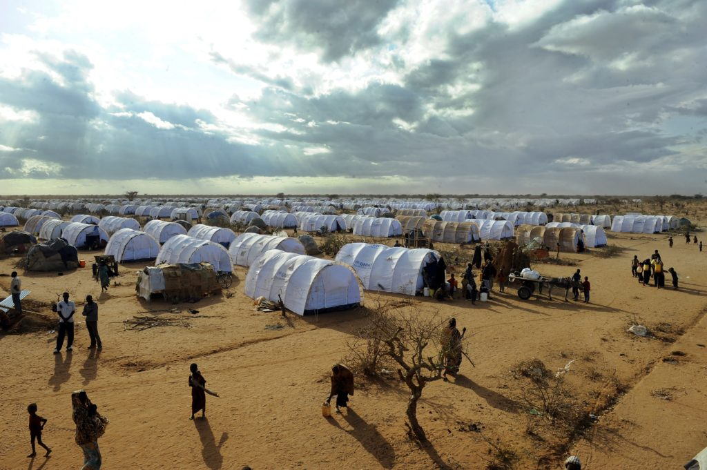 Somali refugees are pictured inside the Dadaab refugee camp in Kenya, one of the largest refugee camps in the world.