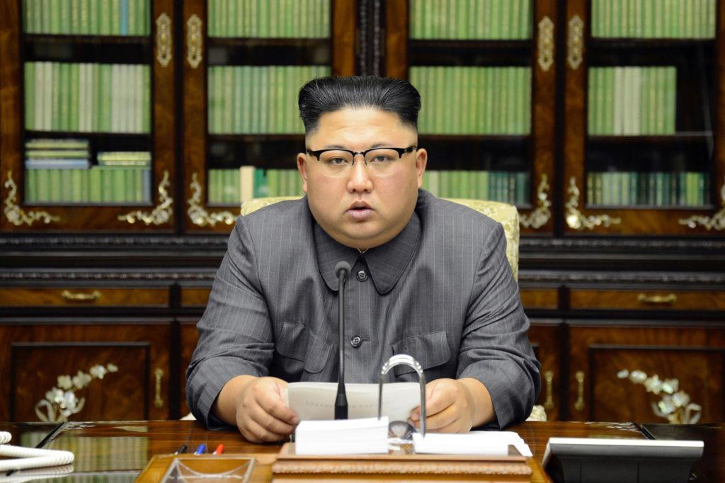 Kim Jong-Un delivers a statement in Pyongyang in September 2017.