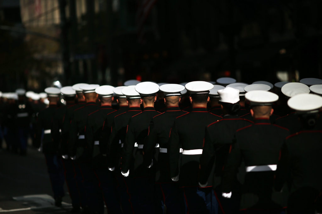U.S. Marines march in the annual Veteran's Day Parade in New York in Nov. 2014.