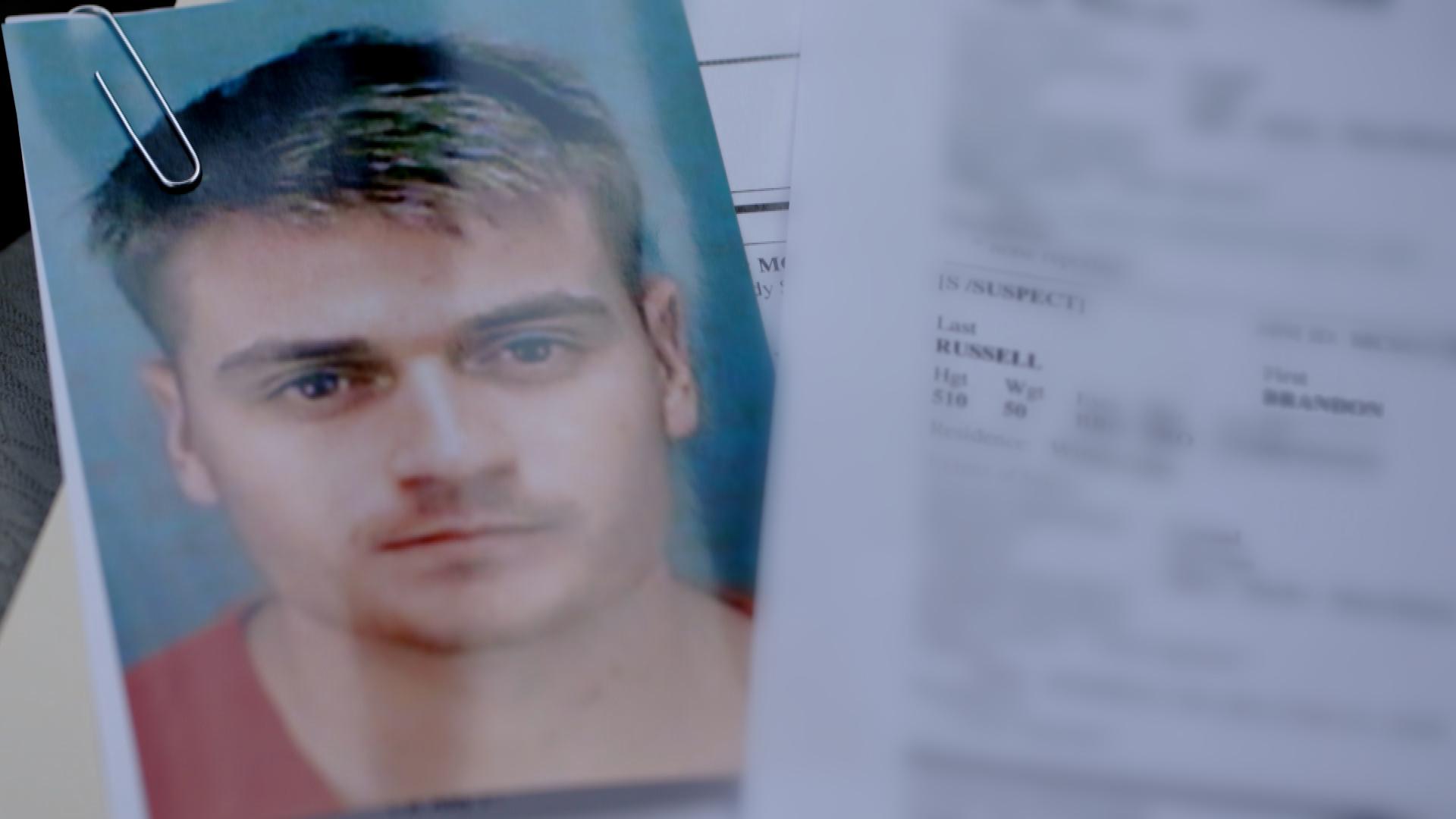 A mugshot of Brandon Russell.