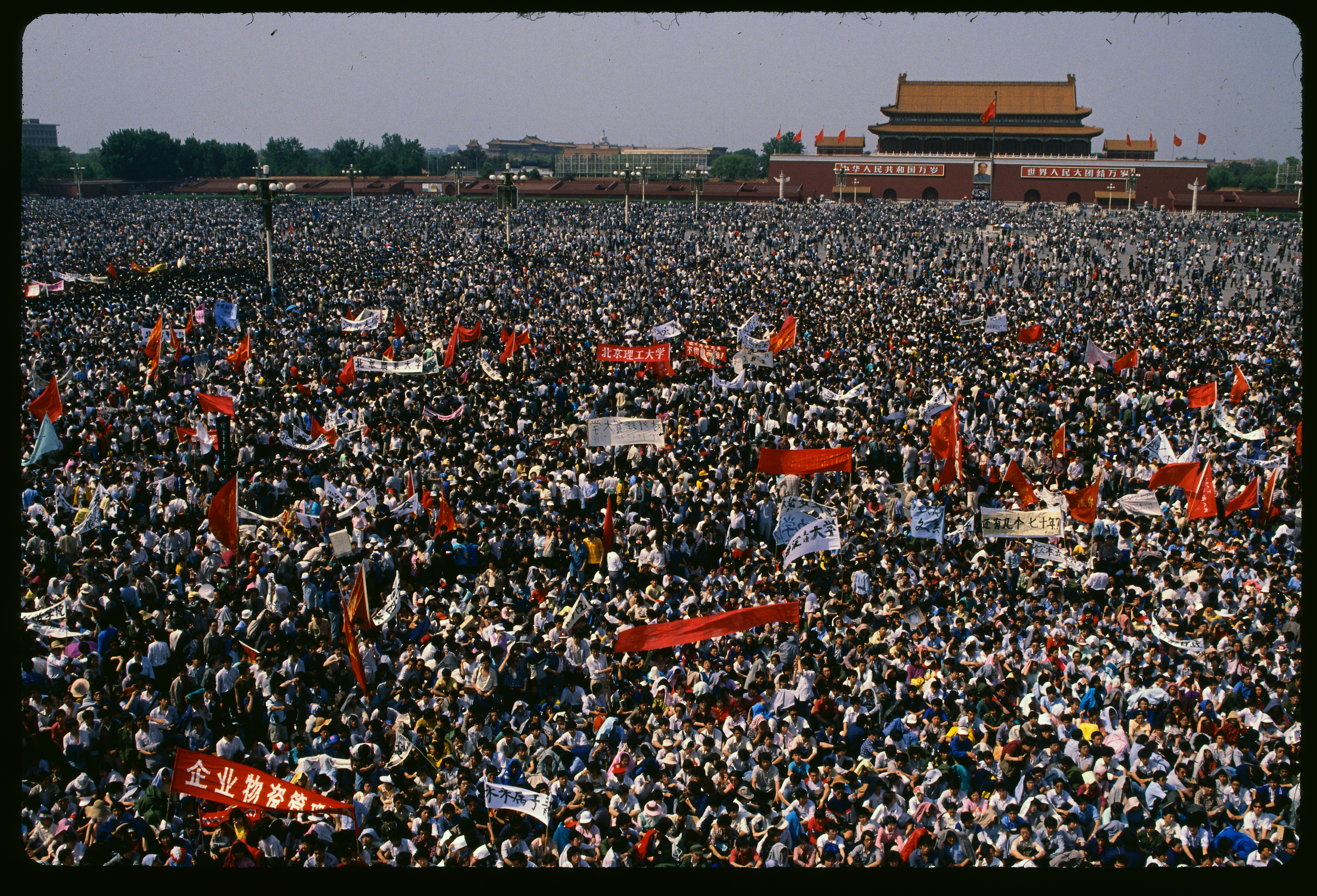 A sea of student protesters gathers in Tiananmen Square on May 4, 1989. They were asking for greater freedom of speech and democracy.