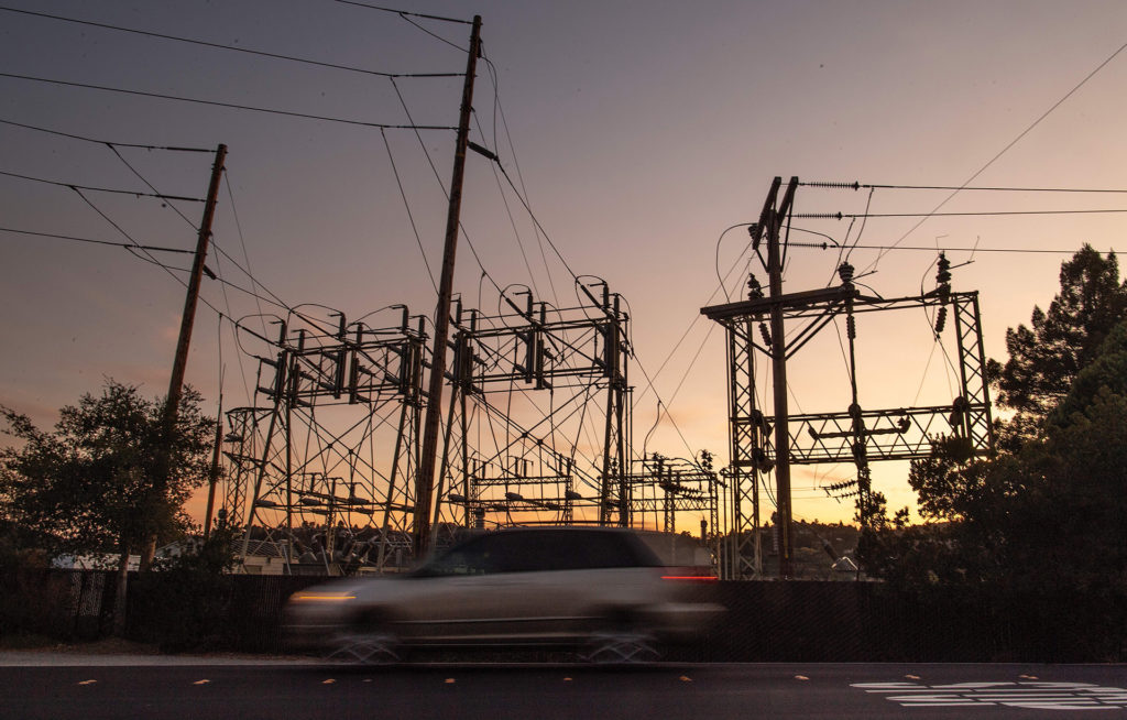 A power station in Mill Valley, California during a widespread blackout in October 2019.