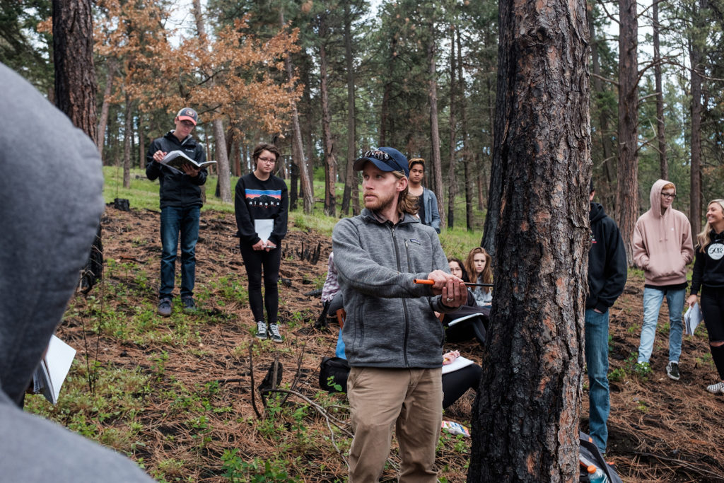 High school students visit a state park in Idaho in 2017 to learn about the effects that trees have on the environment.