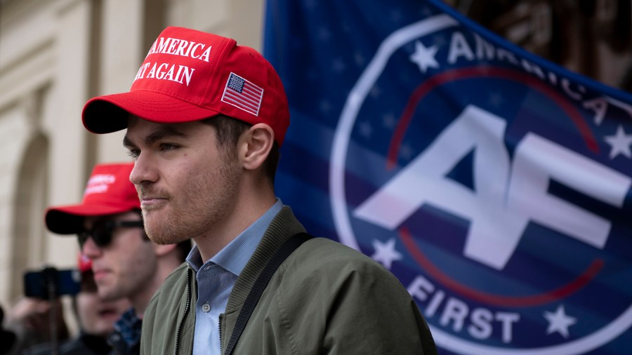 White nationalist influencer Nick Fuentes at a rally at the Michigan State Capitol in Lansing, Michigan, on Nov. 11, 2020.