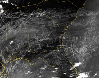 Contrails over the southeastern United States