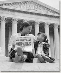 Photo of mother and daughter on steps of the Supreme Court building on May 18, 1954.