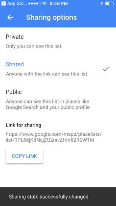 Google Maps Lists