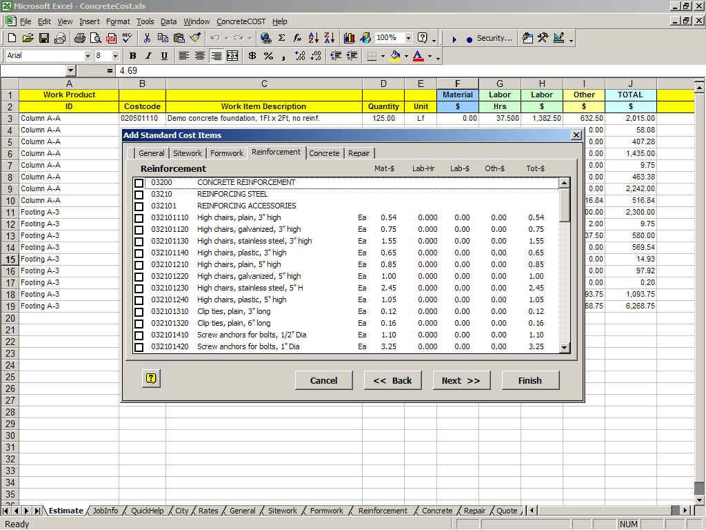 Concretecost Estimator For Excel Concretecost Concrete