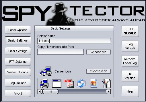 spytector settings