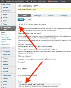Creating the monthly hours collection form - Step 4