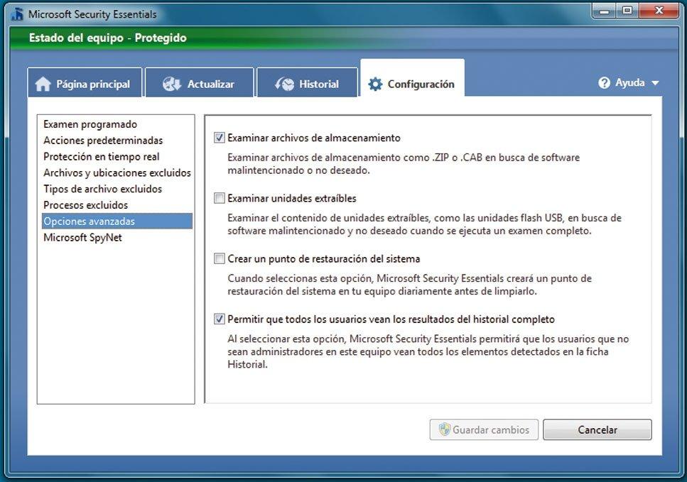 Microsoft Security Essentials  práctico 5