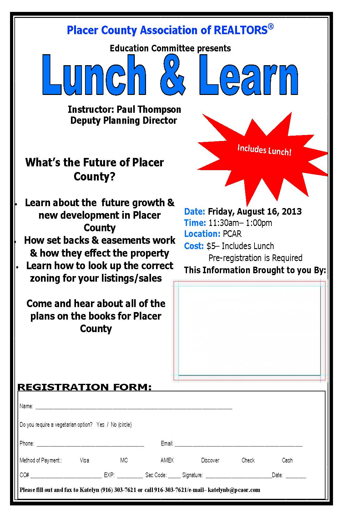 Lunch And Learn Tomorrow Friday August 16th