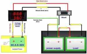 Digital Voltmeter and 50A Ammeter Dual 028inch LED Displays