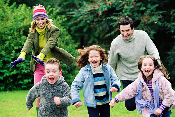Children running around outside.