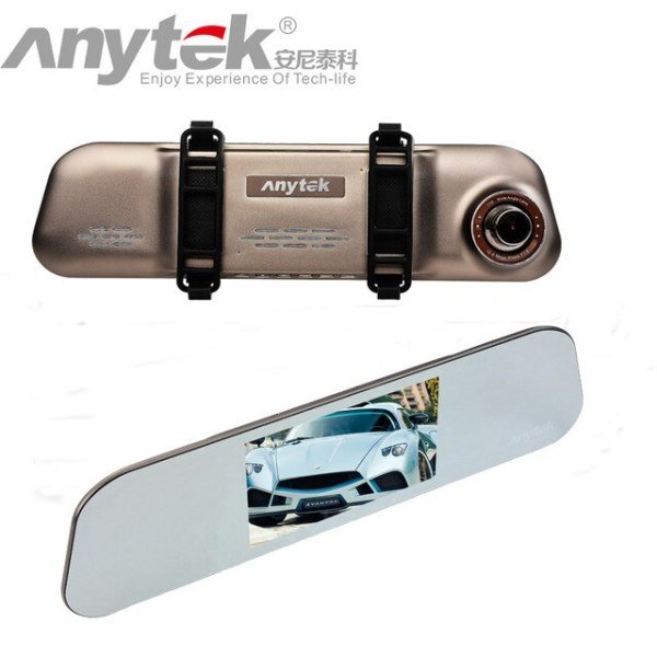 Original Anytek A80 Ultra Thin Rear View Car DVR with Novatek 96655 Dual lens Light
