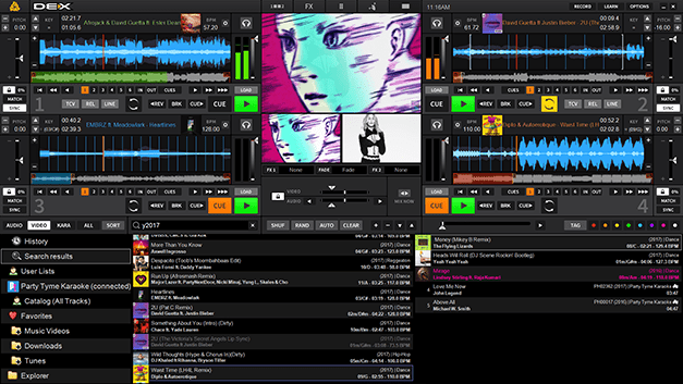 DEX 3 Pro DJ mixing software with video and karaoke