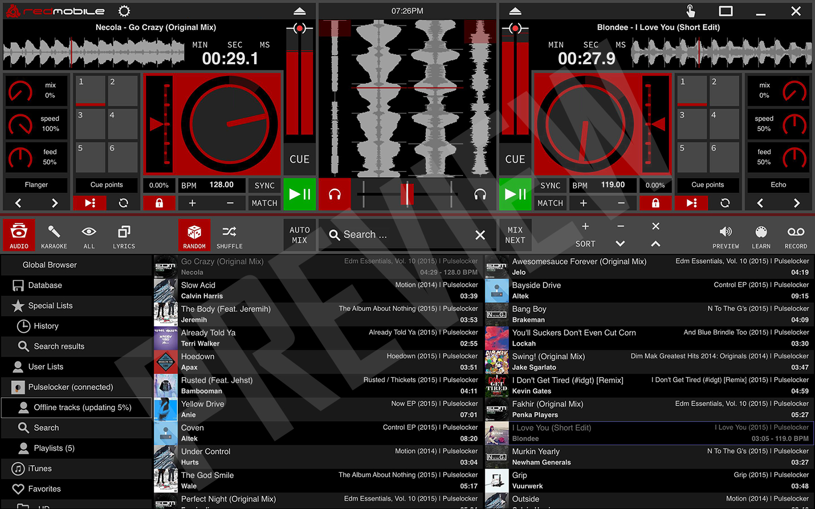 RED Mobile 3 DJ Software Skin