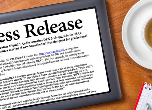 DEX 3.10 DJ Software Press Release