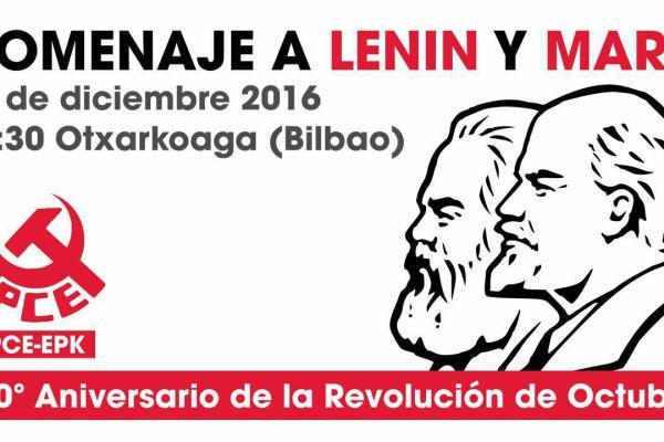 El PCE-EPK recibe el año del centenario de la Revolución de Octubre con un acto de homenaje a Marx y Lenin
