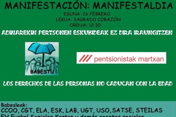 Movilización en defensa de las pensiones públicas en Bilbao