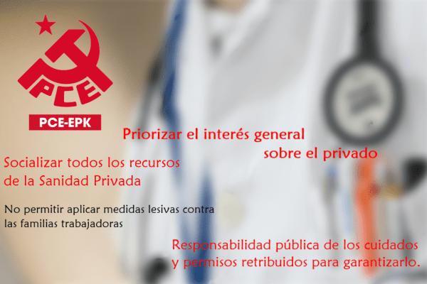 El PCE-EPK solicita la intervención de todos los centros y clínicas de la sanidad privada de manera urgente, y más recursos para la atención sanitaria.