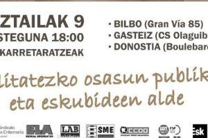 Movilizaciones unitarias para exigir al gobierno vasco que cambie de raíz sus políticas públicas en materia de salud