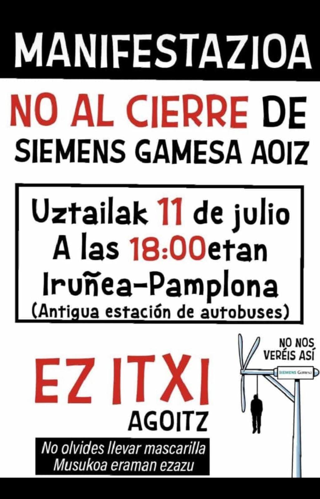 El Partido Comunista llama a la participación en la manifestación contra el cierre de Siemens-Gamesa Aoiz. Ez Itxi!