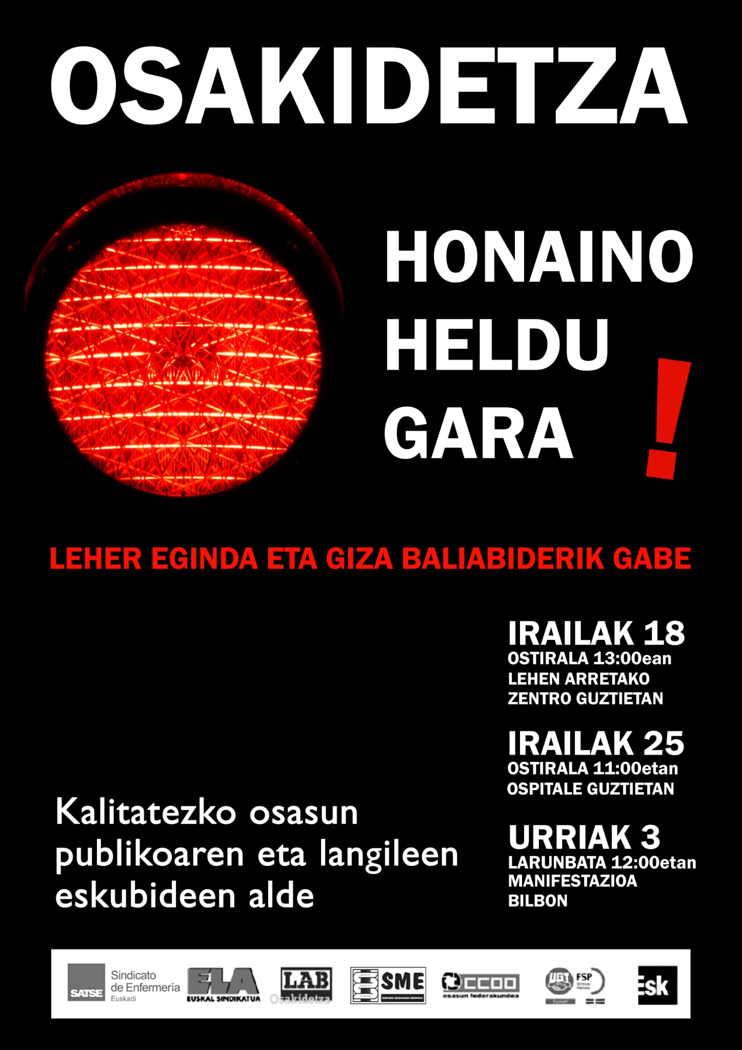Kalitatezko osasun publikoaren eta langileen eskubideen alde. El PCE-EPK llama a la movilización ante la convocatoria de lucha de los sindicatos de sanidad.