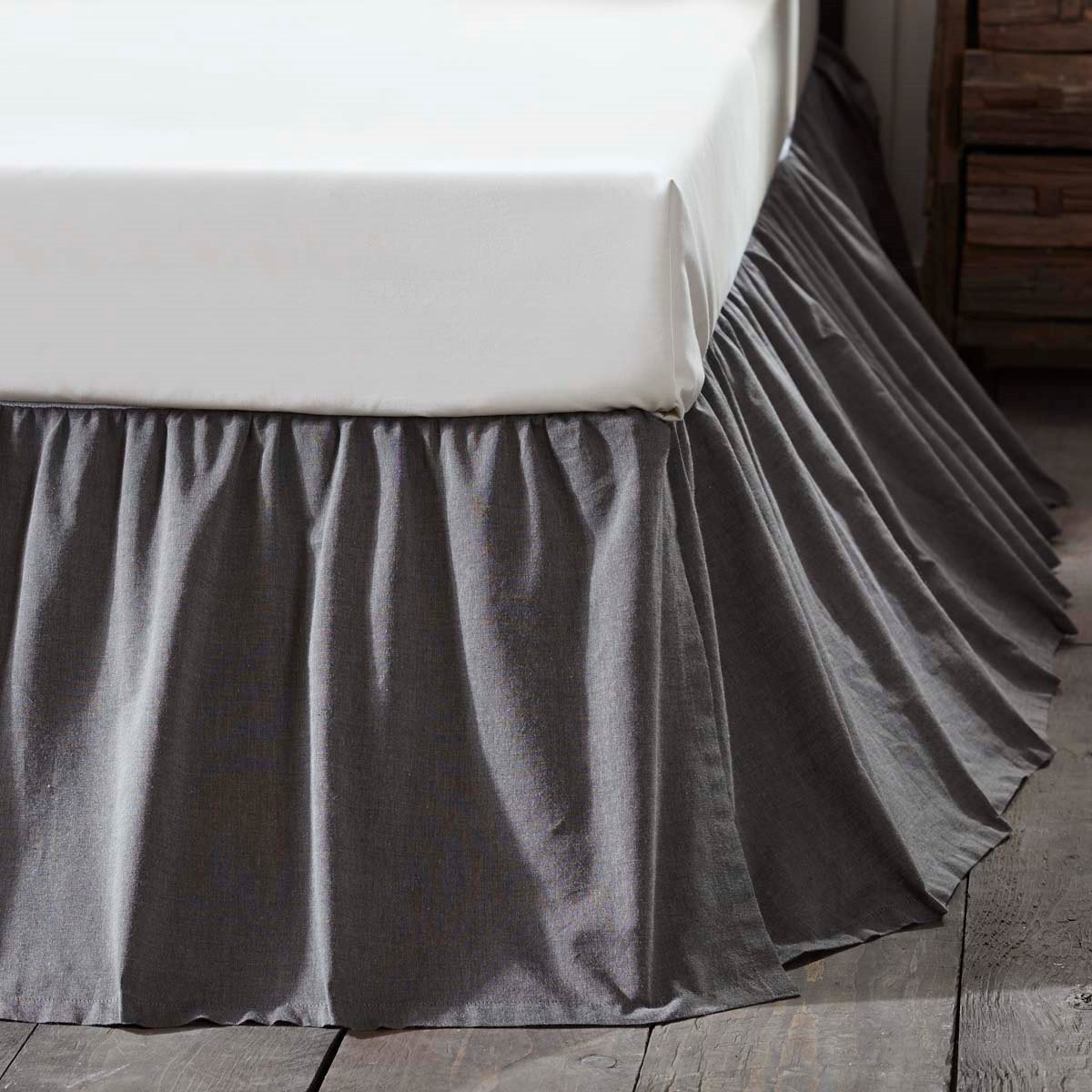 Black Chambray King Bed Skirt