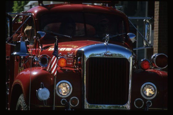 ca. September 1991, fire truck in the Labor Day (Miner's Day) parade.