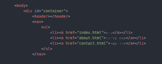 נוסיף את תגית ה header אך לא נכניס בה שום תוכן