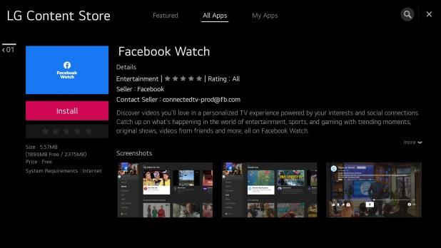 תמיכה באפליקציית Facebook Watch על גבי טלוויזיות חכמות LG