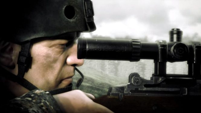A profile view of a sniper taking aim in one of the best sniper games, Operation Flashpoint: Dragon Rising
