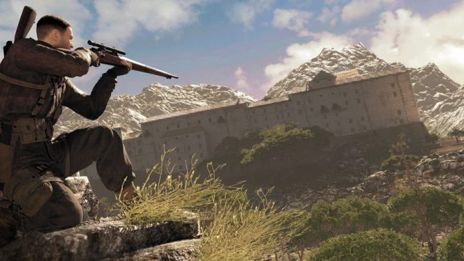 A sniper takes aim at a building in the distance in Sniper Elite 4, one of the best sniper games