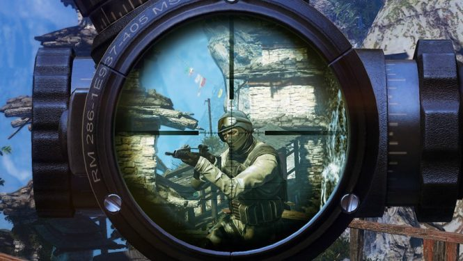 A beautifully detailed scope through which we see the ill-fated head of an unsuspecting target in Sniper: Ghost Warrior 2, one of the best sniper games