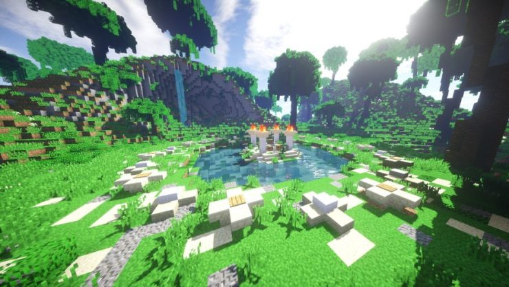 The beginning podiums for Minecraft Survival Games, one of the best battle royale games