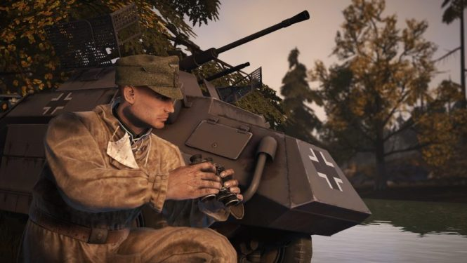 A soldier with binoculars crouches next to a tank in one of the best tank games: Heroes & Generals