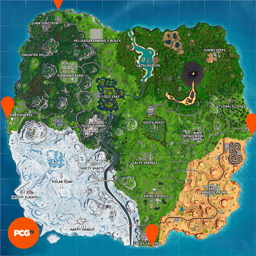 Fortnite: visit furthest north, south, east, west points ... on ↗  id=59869