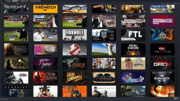 Lots of PC games in a Steam Library