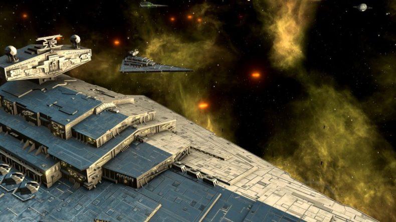 Un destructor de estrellas de Star Wars en primer plano, con otros en el fondo.  Láseres disparando.