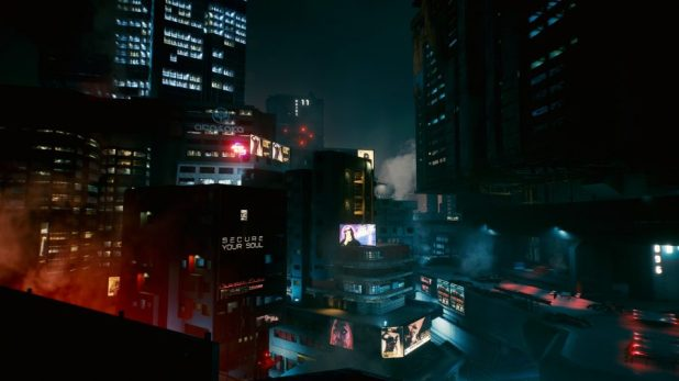Night city view from a terrace at cyberpunk 2077 at night
