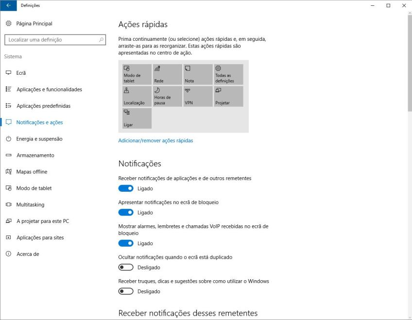 Bloquear sugestões Windows 10