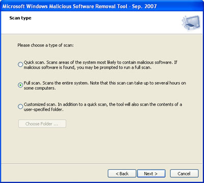Malicious Software Removal Tool Scan Options